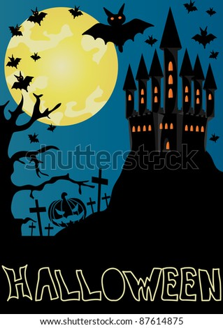 Halloween background with haunted house, bats and full moon - stock vector