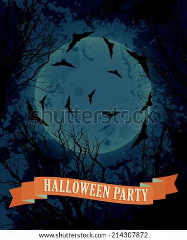 Halloween background with moon illustration vector eps10 - stock vector