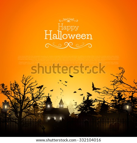 Halloween background with old graveyard and church - stock vector