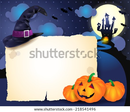 Halloween background with parchment, vector eps 10