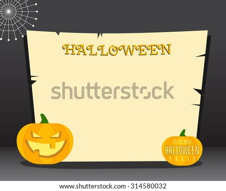 Halloween background with place for text. Happy Halloween flyer card, poster. Dark design with pumpkins. web and retro paper. Vector illustration