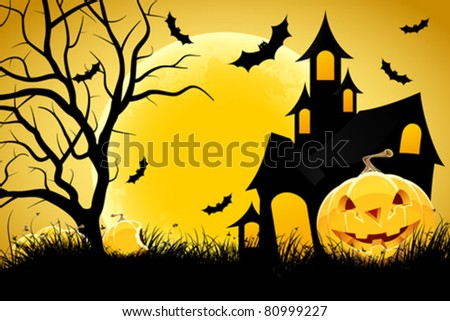 Halloween background with pumpkin in grass  house tree and moon - stock vector