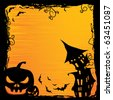 Halloween background with pumpkin, night bat,castle and tree - stock vector