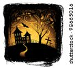 Halloween background with pumpkin, night bat, tree and house in frame - stock vector
