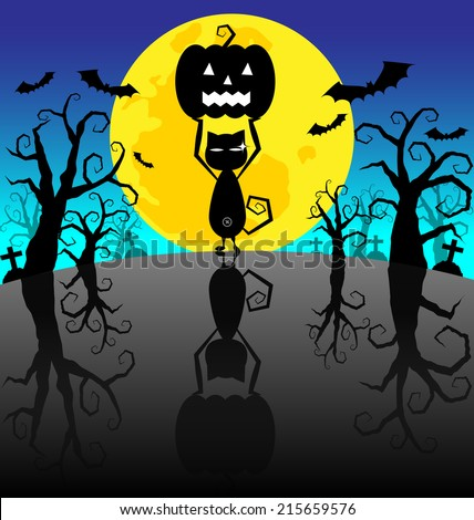 Halloween Background  with Pumpkins and black cat on the night