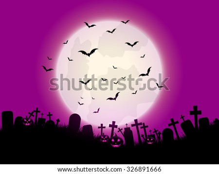 Halloween background with pumpkins and graveyard - stock vector