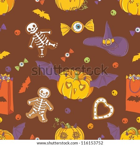 Halloween background with pumpkins, cookies, hat, bat and candy