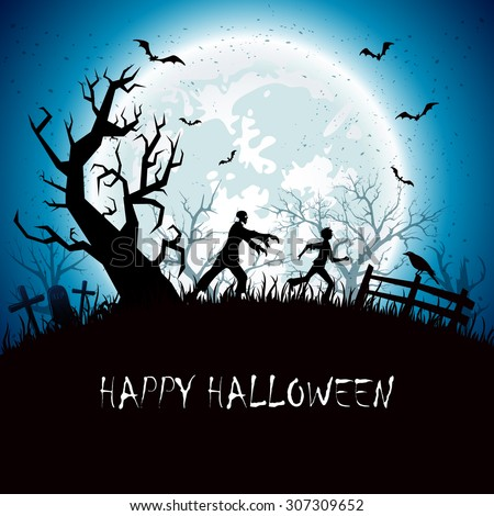 Halloween background with running man from zombies, illustration. - stock vector