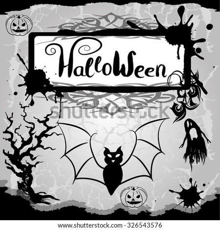 halloween background with scary pumpkins, ghost ,tree and bat. Vector Illustration - stock vector