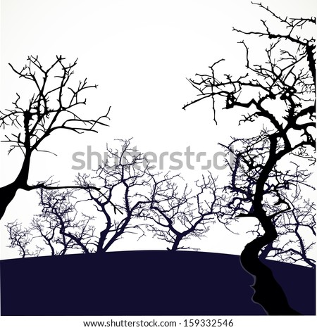 Halloween background with scary trees - stock vector