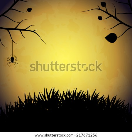 Halloween background with spider. EPS10 vector. - stock vector
