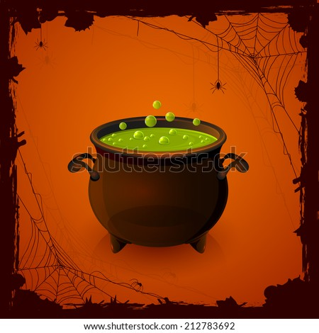 Halloween background with spiders and witches cauldron with potion, illustration. - stock vector