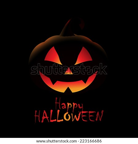 Halloween background with spooky jack o lantern - stock vector