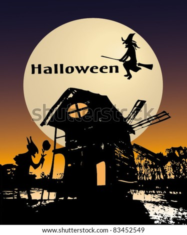 Halloween background with the old mill.