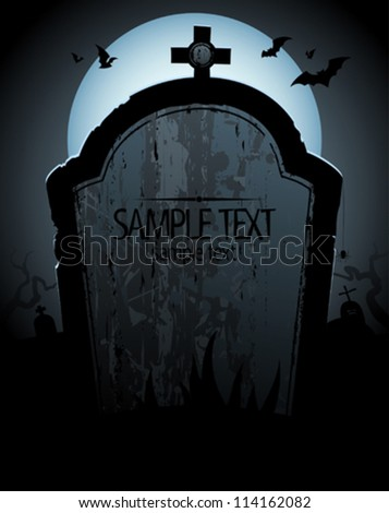 Halloween background with tomb and place for text. - stock vector