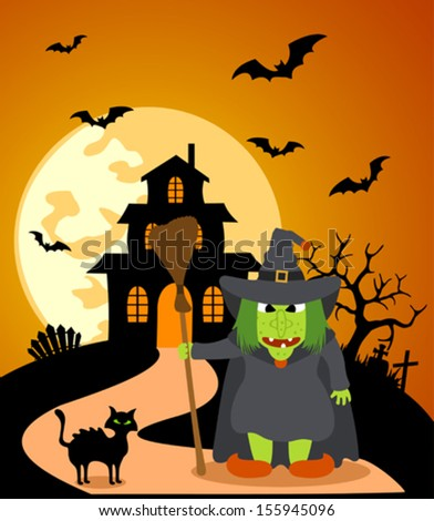 Halloween background with Witch and full moon