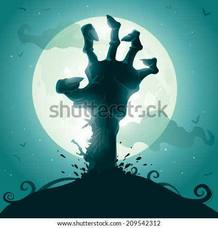 Halloween background with zombie hand on full moon - stock vector