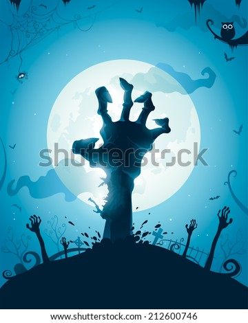 Halloween background with zombie hands on full moon - stock vector