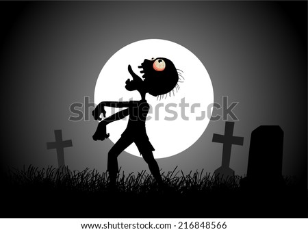 Halloween background with zombie, tombstones and the moon on the cemetery  - stock vector
