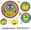 halloween badges set for children's party - stock vector