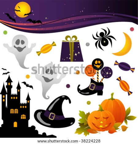 Halloween banner and elements - Jack O' Lantern, Bat, spider, full moon, castle, spooky, Witch's Hat and gift.