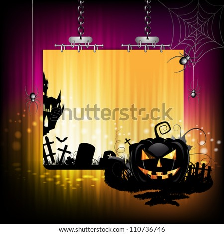 Halloween banner design with pumpkin and cemetery - stock vector