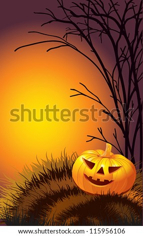 Halloween banner with pumpkin, tree and grass