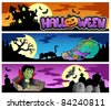 Halloween banners set 3 - vector illustration. - stock vector