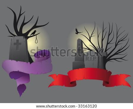 Halloween Banners - vector - stock vector