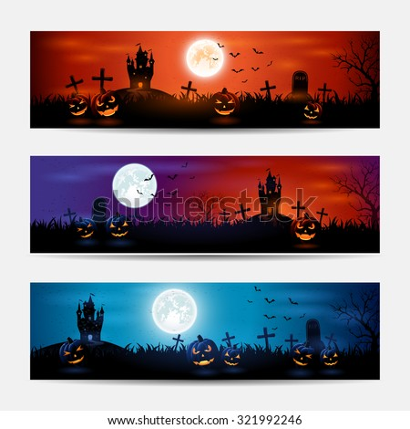 Halloween banners with castle and pumpkins on graveyard, illustration. - stock vector