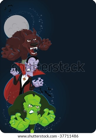 halloween banners with classic monsters - stock vector
