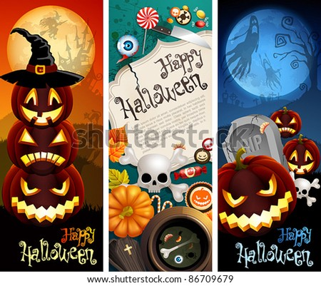 Halloween banners with pumpkins, different objects and place for text. Check my portfolio for raster version. - stock vector