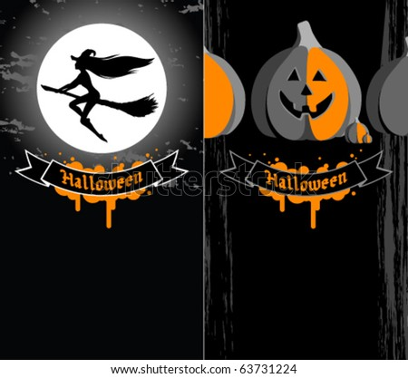 Halloween banners with witch and pumpkins - stock vector