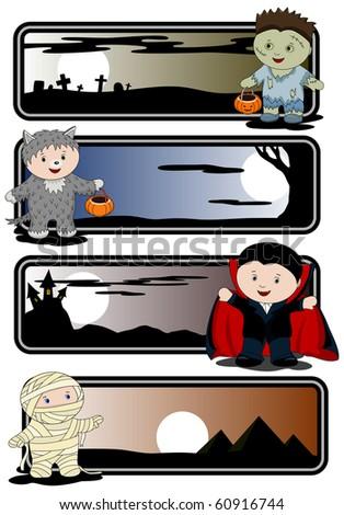 Halloween banners - zombie, mummy, werewolf and vampire - stock vector
