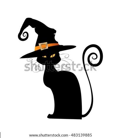 Halloween Black Cat Vector Animal Isolated Stock Vector 483139885 ...