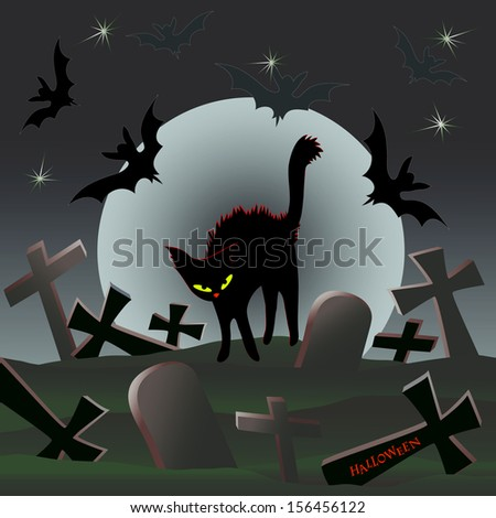 Halloween: black cat walks under a moonlight on hills of the old thrown cemetery - stock vector