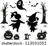 Halloween black icons for kids: girls, pumpkins, creepy trees, a ghost and a cat - stock vector
