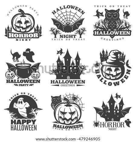 Halloween Black White Emblems Parties Greetings Stock Vector