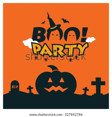 Halloween Boo Party Card Design. Big scary Pumpkin face in graveyard. orange clouds background. vector Card Design illustration