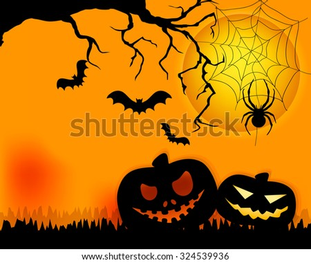 Halloween border for design with pumpkin and moon . Invitation