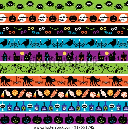 halloween border patterns - stock vector