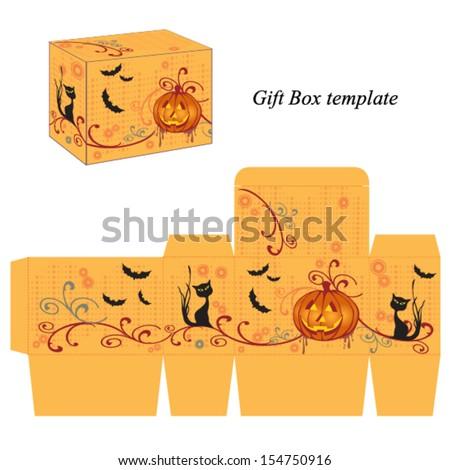 Halloween box template with pumpkin, black cat and bats. Vector. - stock vector
