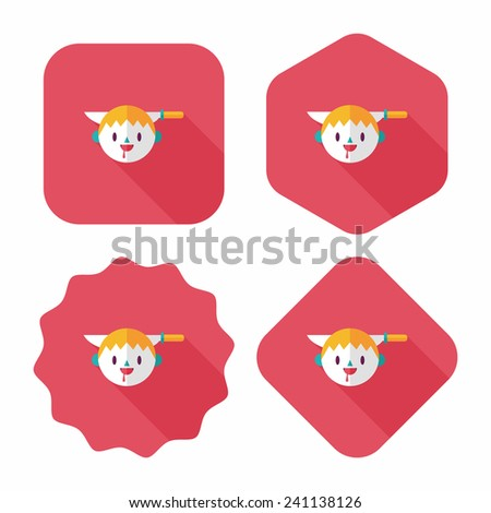 Halloween boy flat icon with long shadow,eps10 - stock vector