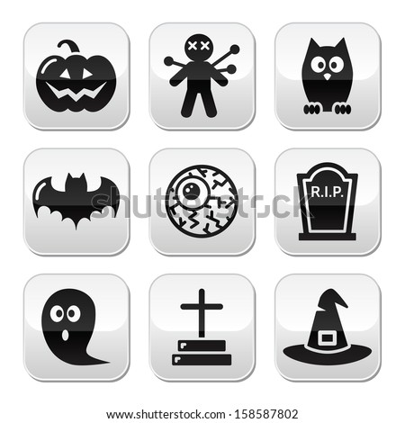 Halloween buttons set - pumpkin, witch, ghost, grave  - stock vector