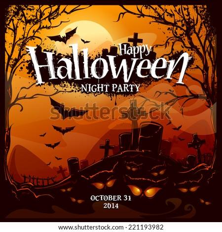 Halloween card design template. Vector illustration. - stock vector