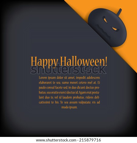 Halloween card design with pumpkin and with space for message or greeting. Eps10 vector illustration. - stock vector