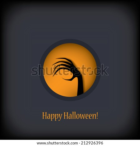 Halloween card design with zombie hand in the window. Eps10 vector illustration. - stock vector