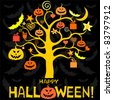 halloween card. Greeting  background. Vector illustration - stock vector