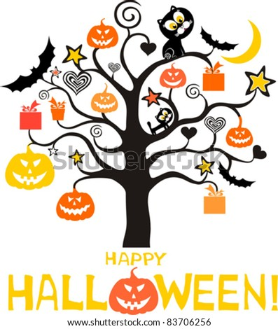halloween card isolated on white background. Vector illustration - stock vector