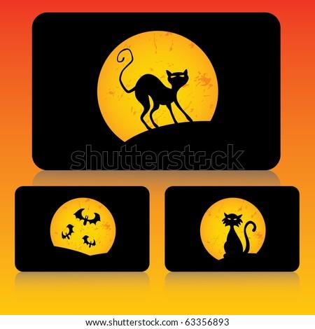 Halloween card set - stock vector